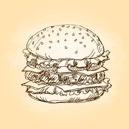 Hamburger, fast food. Freehand drawing. Vector illustration.
