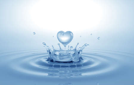 Heart shaped water splash. Conceptual symbol. 3D illustration. Reklamní fotografie
