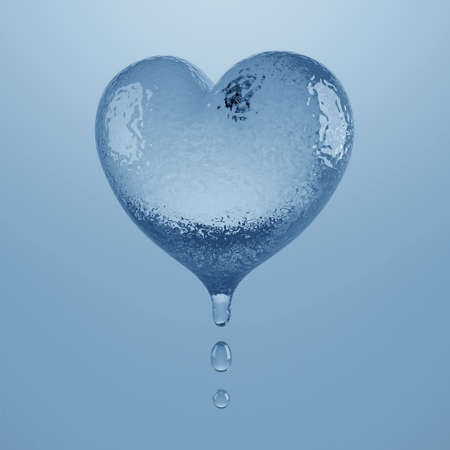 Melting ice heart. Isolated on a light blue background. 3D illustration