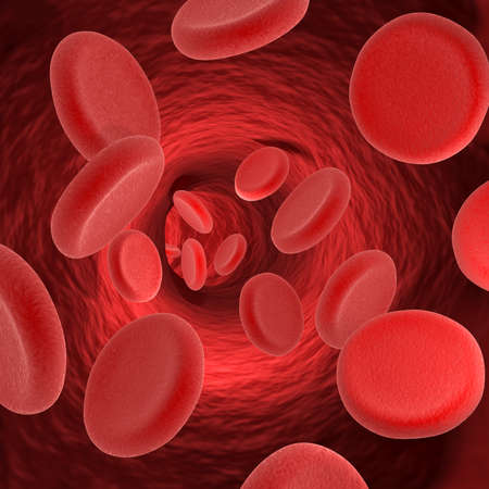 Red blood cells in a vein. Medical theme. 3D render