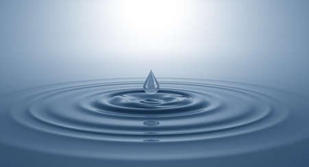 Splash on the water surface with a drop. 3D illustration