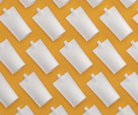 Sauce packages on an orange background. View from above. 3D illustration