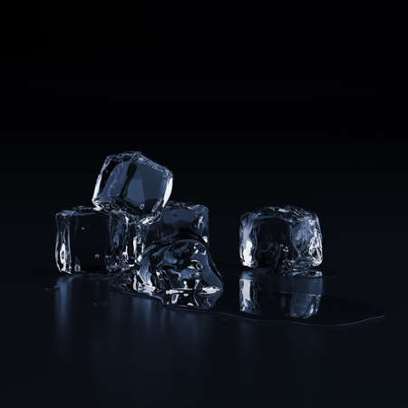 Ice cubes with drops of water on black background.3D render Reklamní fotografie