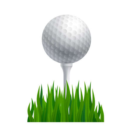 Golf ball on a golf tee. Sports theme. Vector illustration. Ilustrace