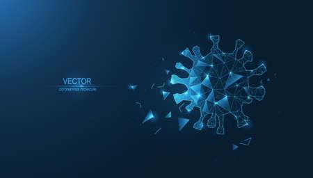 Coronavirus molecule. Plexus of lines and triangles on a dark background. Vector illustration Ilustrace