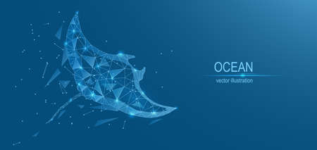 Ocean, manta ray. Abstract low poly background. Plexus of lines of triangles and points ,. Vector illustration.