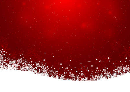 Christmas abstract background. Snowflakes circle in the night sky and fall on the snow. Vector illustration.