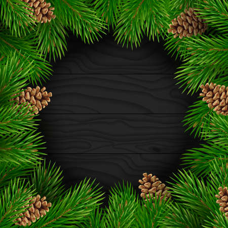 Christmas background. Fir branches with cones on a dark wooden texture. Frame for decorative ornament greeting card. Vector illustration.