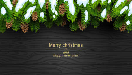Christmas background with fir branches and fir cones on a dark wooden texture. Decoration for a greeting card. Vector illustration