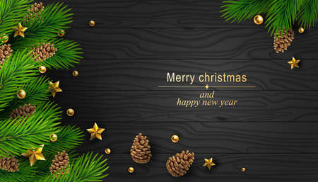 Christmas background with fir branches, golden balls and stars and fir cones on a wooden texture. Vector illustration