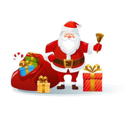 Santa claus with a huge bag of gifts and a bell. Cartoon character. For Christmas and New Year greeting cards, posters. Vector illustration.