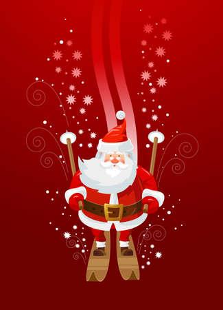 Santa Claus is having fun downhill skiing. Cartoon character. Vector illustration.