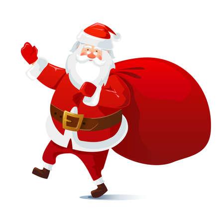 Santa Claus with a bag of gifts. Cartoon character. Vector illustration