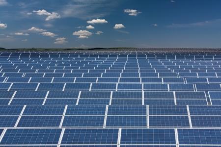 Infinite series of solar collectors Stock Photo