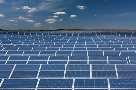 collector's: Infinite series of solar collectors Stock Photo