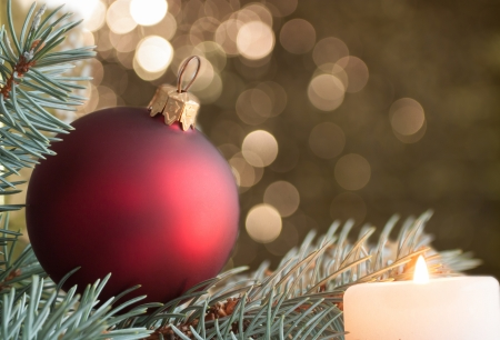 Christmas decoration, candle, spruce, ball