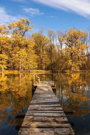 golden colors of autumn on the river Stock Photo