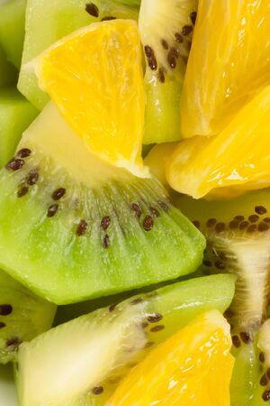 pieces of kiwi and oranges