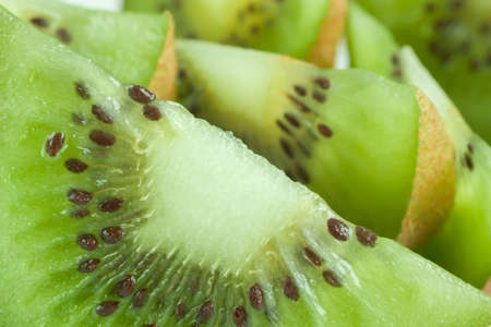 Close up view of kiwi slices