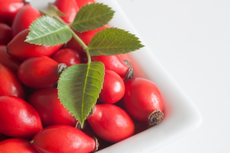 fruits wild roses in a bowl