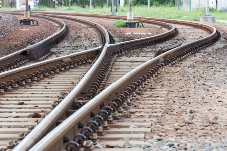 points and curves rail tracks Stock Photo