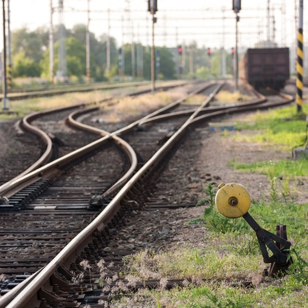 Railroad track with trains - freight cars