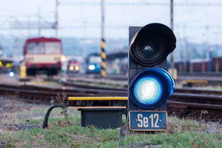 Railroad. Shunting traffic lights blue signal Stock Photo