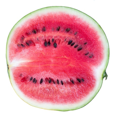 bisected watermelon isolated on white background photo