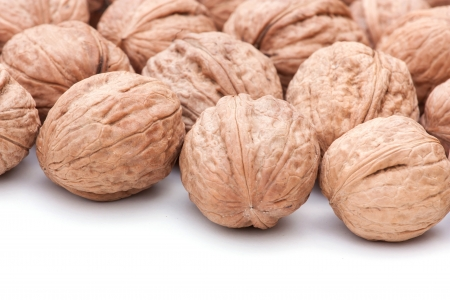 background of whole walnuts in shell