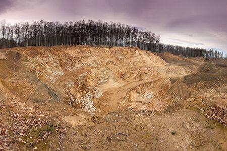 yellow terraces quarry stone exploitation