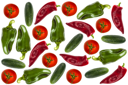 background with peppers, tomatoes and cucumbers