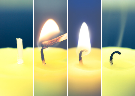firestarter: ignition, light and smoke candles Stock Photo