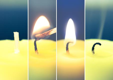 pyromania: ignition, light and smoke candles Stock Photo