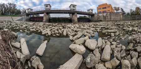 weir: stones under the water weir
