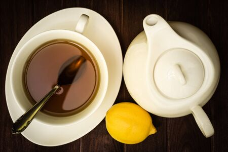 cup of tea on a wooden background Stock Photo