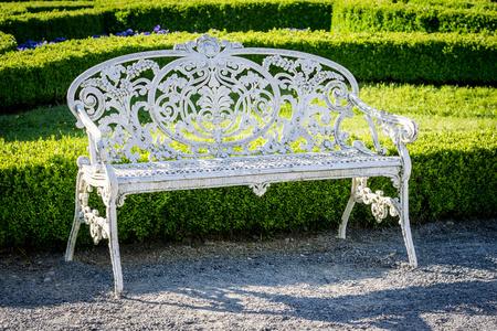garden bench: garden bench on a green background