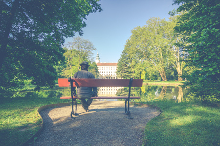 chateau: view from the bench at Chateau Kromeriz