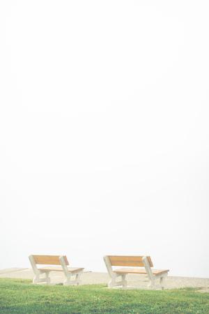 empty bench: empty bench on misty lake