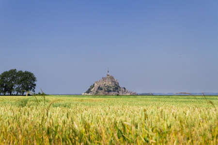 mount saint michael: Panoramic view of Mont Saint Michel besides a field of wheat  Stock Photo