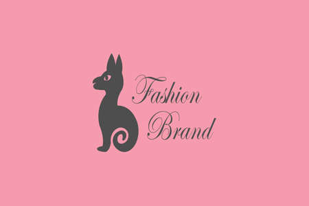 Gray cat on pink background, perfect for women's fashion brands 일러스트