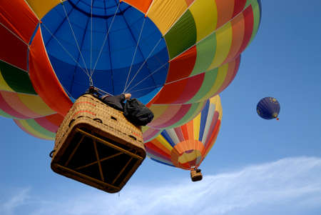 flying hot air balloons 3 Stock Photo