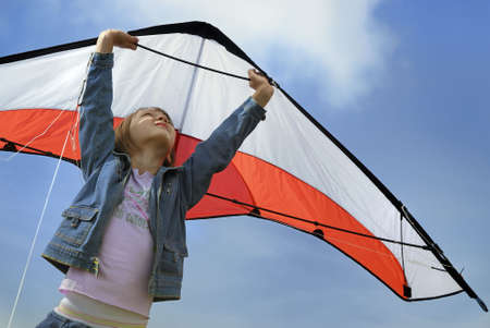 child playng with a kite Stock Photo - 1831395