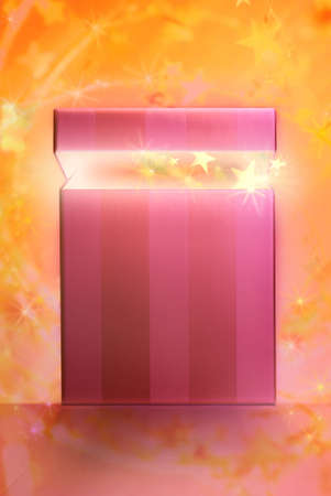 scintillating: dream gift with golden stars coming out from the box on a sparkling background