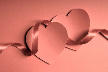 couple of hearts and satin ribbon monochrome image