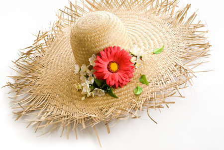 straw hat with floral decoration
