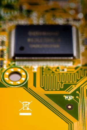 recycle symbol on circuit board Stock Photo - 2632652