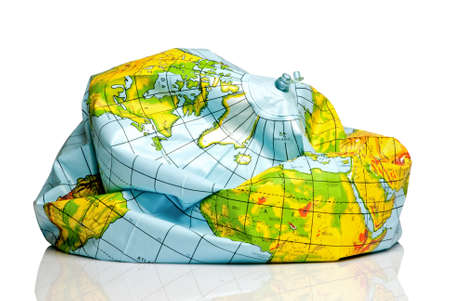 topographical: deflated planet earth