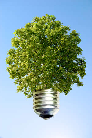 reusing: ecological idea against a blue sky Stock Photo
