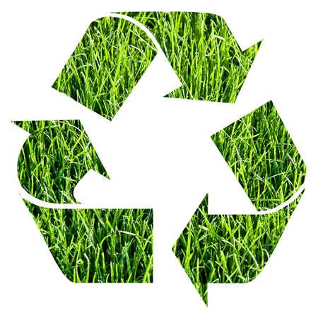 reciclable: reciclar s�mbolo hecho con la hierba  Foto de archivo