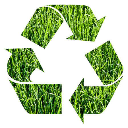 recycle symbol made with grass